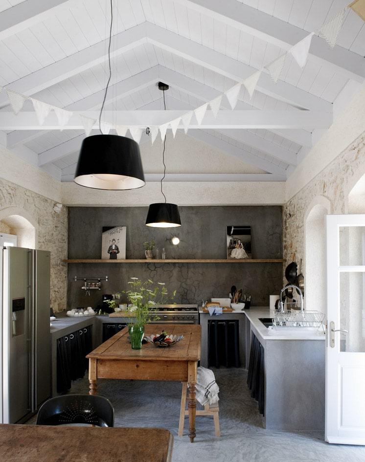 Greek villa kitchen Featuring Mungo Textiles