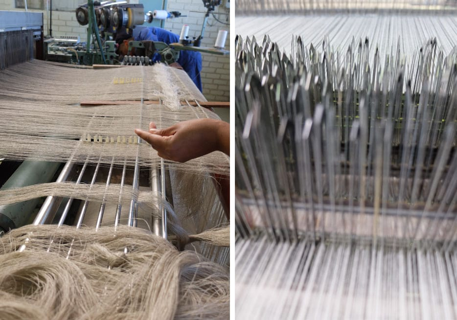Tying on a linen warp at the Mungo Mill in Plettenberg Bay.