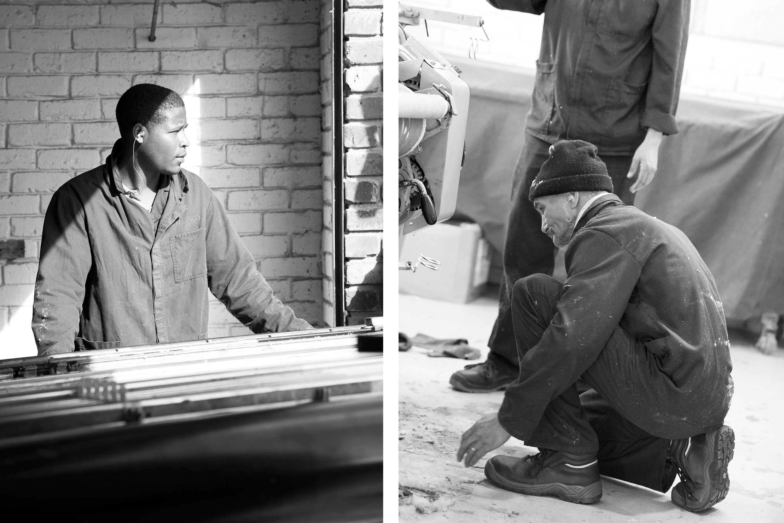 Nathan (left) our new weaving apprentice and Roderick (right) the loom tuner who started working for us earlier this year after Colibri , the well known toweling manufacturer, closed their doors.