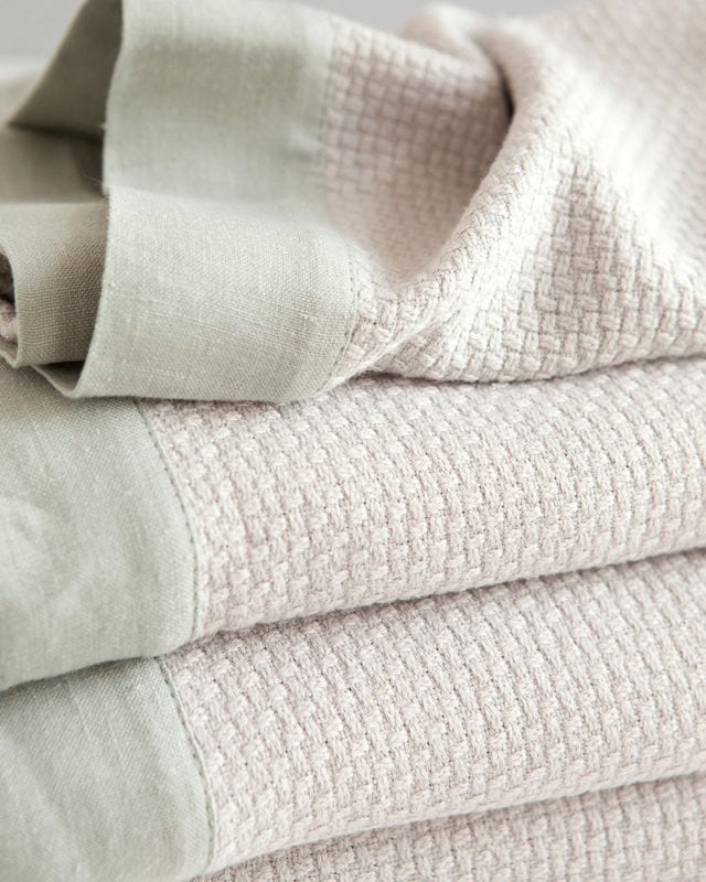 Mungo Interlace Towel in stone colourway. Woven in South Africa at the Mungo Mill
