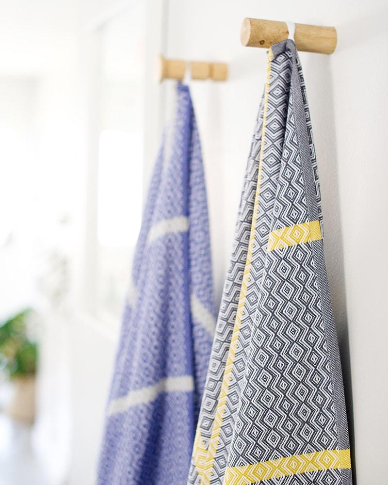 Mungo Itawuli Towel in blue moon and cango grey colourways