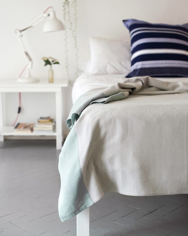 Mungo interlace throw is made with a linen border at our mill Plettenberg Bay, South Africa.