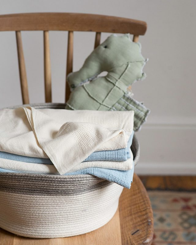 Mungo organic cotton cot blankets with a Mungo fabric toy