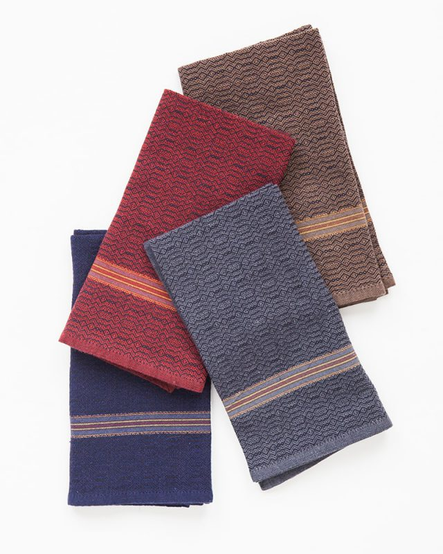 The Mungo boma cloth napkin is available in wide variety of colours - these in white indigo, black stone, black indigo and black rust. Find the one to suit your home.