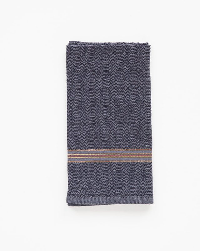 The Mungo boma cloth napkin is available in wide variety of colours - this one is white indigo. Find the one to suit your home.