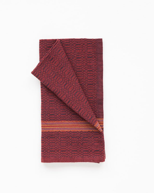 Vibrant Mungo Boma Napkins woven for earth red and black cotton yarn