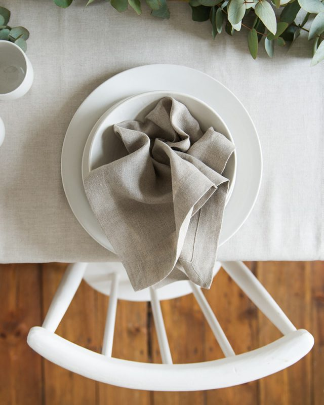 Linen table inspiration, the natural look of flax undyed linen napkins paired with a matching tablecloth