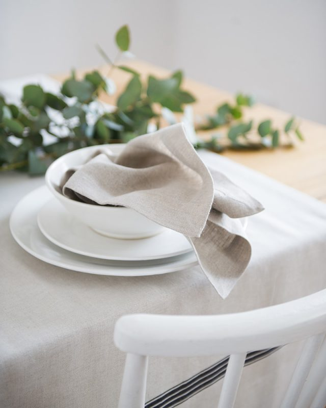 Cotton and linen provicnial stripe tablecloth and kinsail napkins, woven at the Mungo Mill in Plettenberg Bay