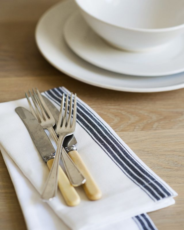 Mungo Provincial Stripe Napkins with a French Navy Stripe on white, woven at the Mungo Mill in Plettenberg Bay