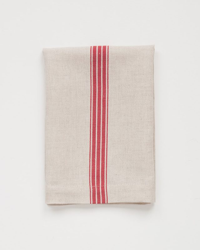 Mungo provincial stripe serviette in red on natural, woven with cotton and linen yarn