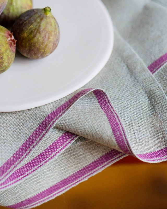 Flax Selvedge Napkins with a Cerise stripe that runs along the true selvedge, woven at the Mungo Mill on antique Ruti looms