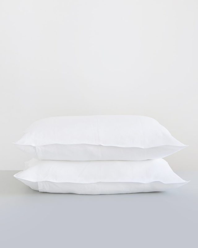 Crisp white pure kamma linen pillow cases woven from Italian linen at the Mungo Mill