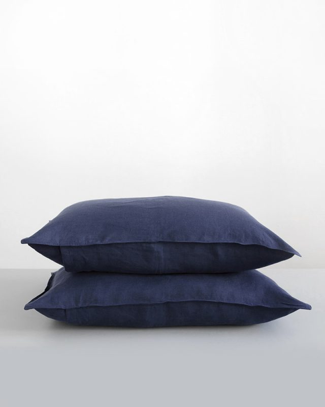 Bucatto Blue Kamma Linen pillow slips, woven by Mungo
