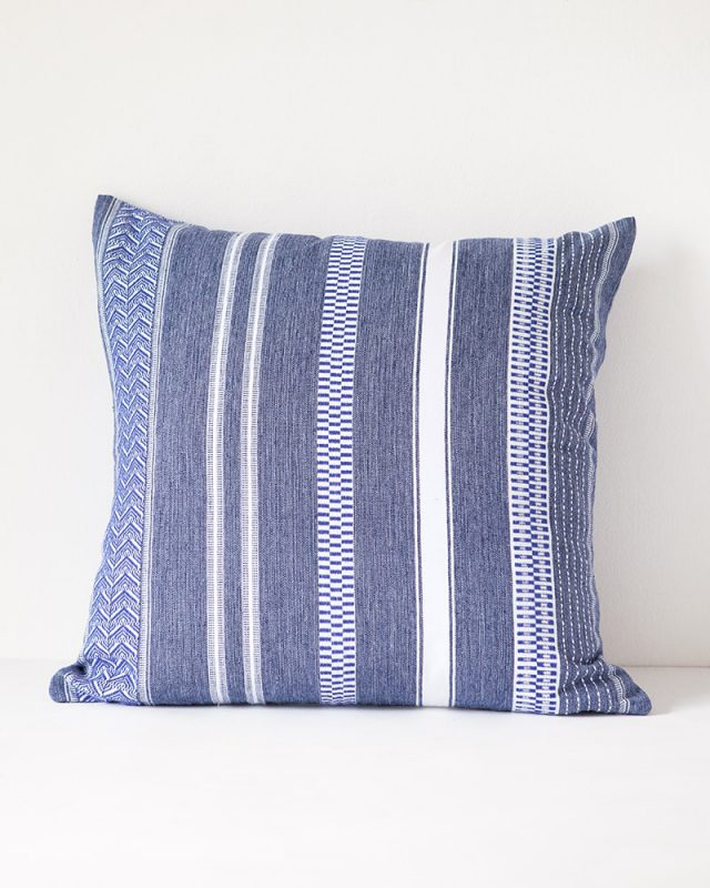 Mungo Mali Cloth cushion cover here in rolled denim woven at the Mungo mill in Plettenberg Bay, South Africa.