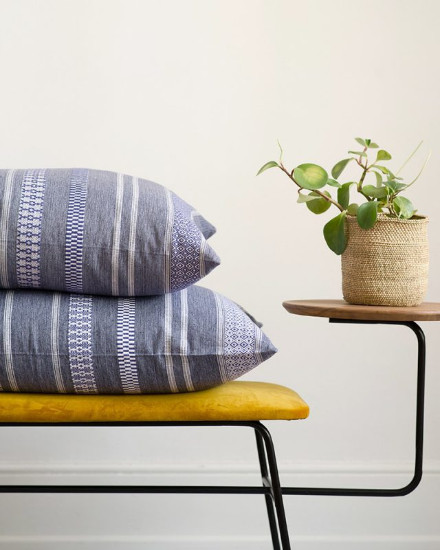 The Mungo rolled denim Mali Cushion cover brings a vibrant african aesthetic into you home