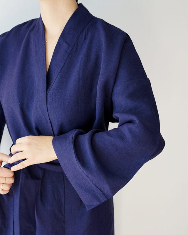 Mungo Linen Kimono Gown in Bucatto. Light, breathable linen gowns designed, woven & made at the Mungo Mill in Plettenberg Bay