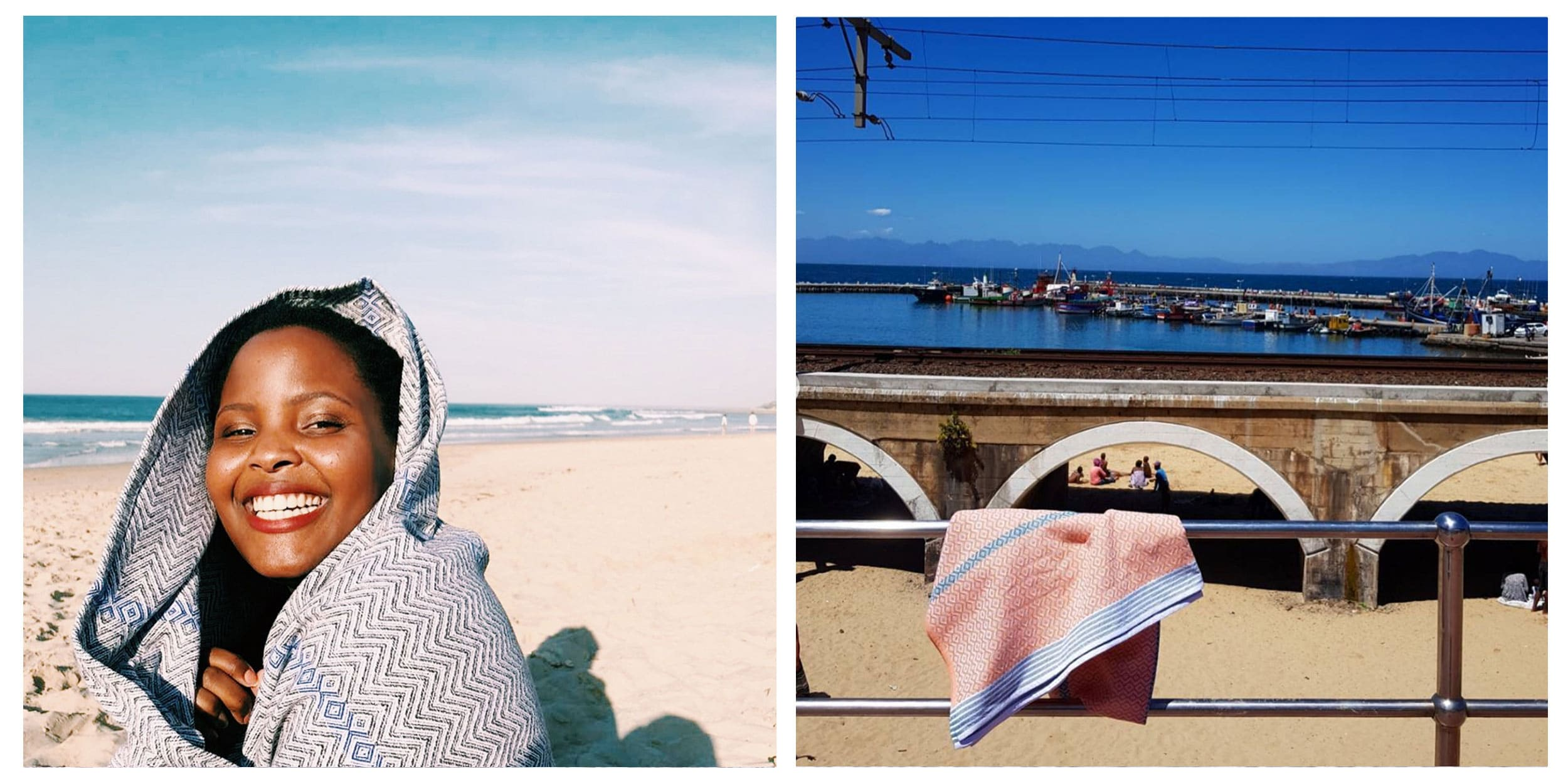 Mungo instagram competition asking followers to share their towel photographs. Featured here is the Tawulo on a beach and the Itawuli in Kalk Bay