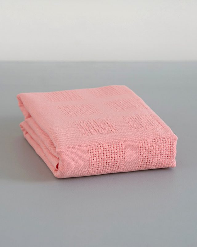 Mungo organic cotton cot baby blanket in Flamingo pink woven at our mill in south africa
