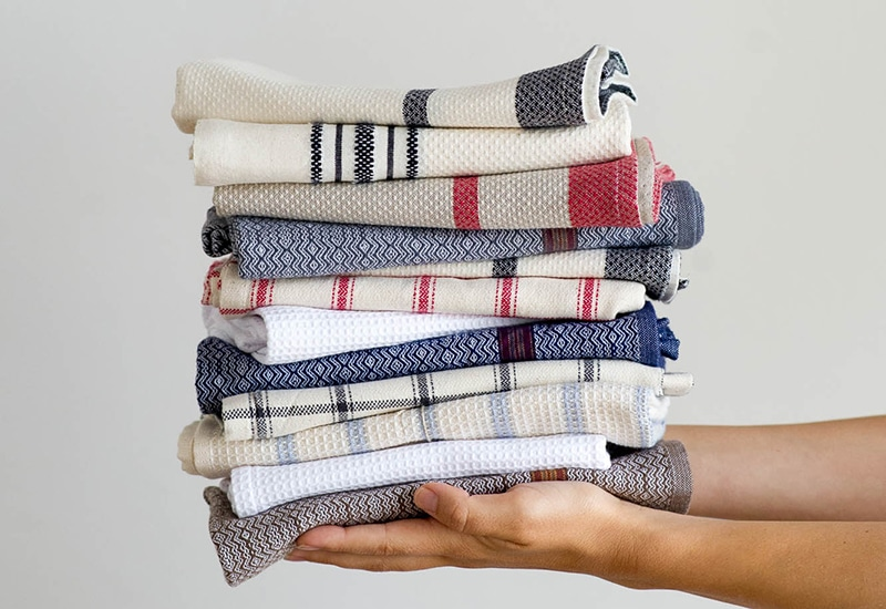 Stack of folded Mungo kitchen towels and dish cloths