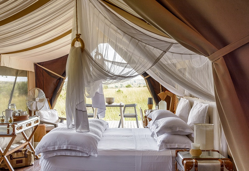 Mungo bed linen in use at an African safari luxury tent experience