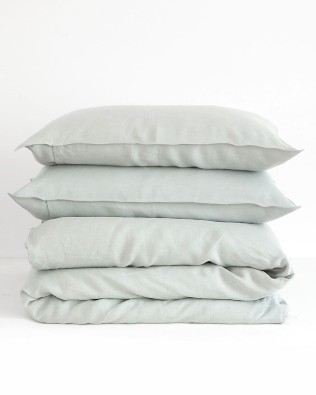 Crisp moon grey pure kamma linen pillow cases and duvet cover woven from Italian 100% linen at the Mungo Mill
