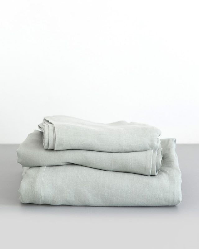 Crisp 100% linen fitted sheets in moon grey woven from Italian 100% linen at the Mungo Mill