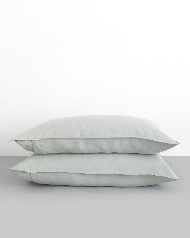 Crisp moon grey pure kamma linen pillow cases woven from Italian linen at the Mungo Mill