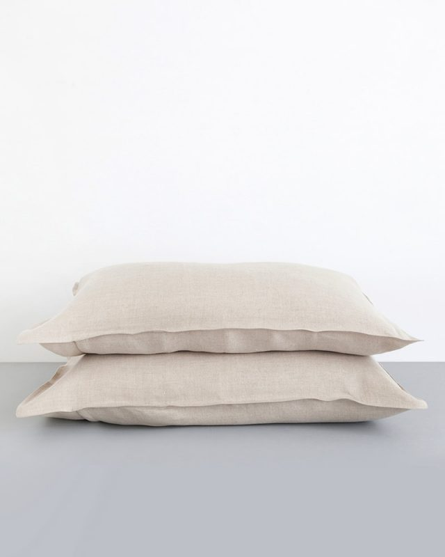 Crisp 100% linen pillow cases in natural flax woven from Italian 100% linen at the Mungo Mill