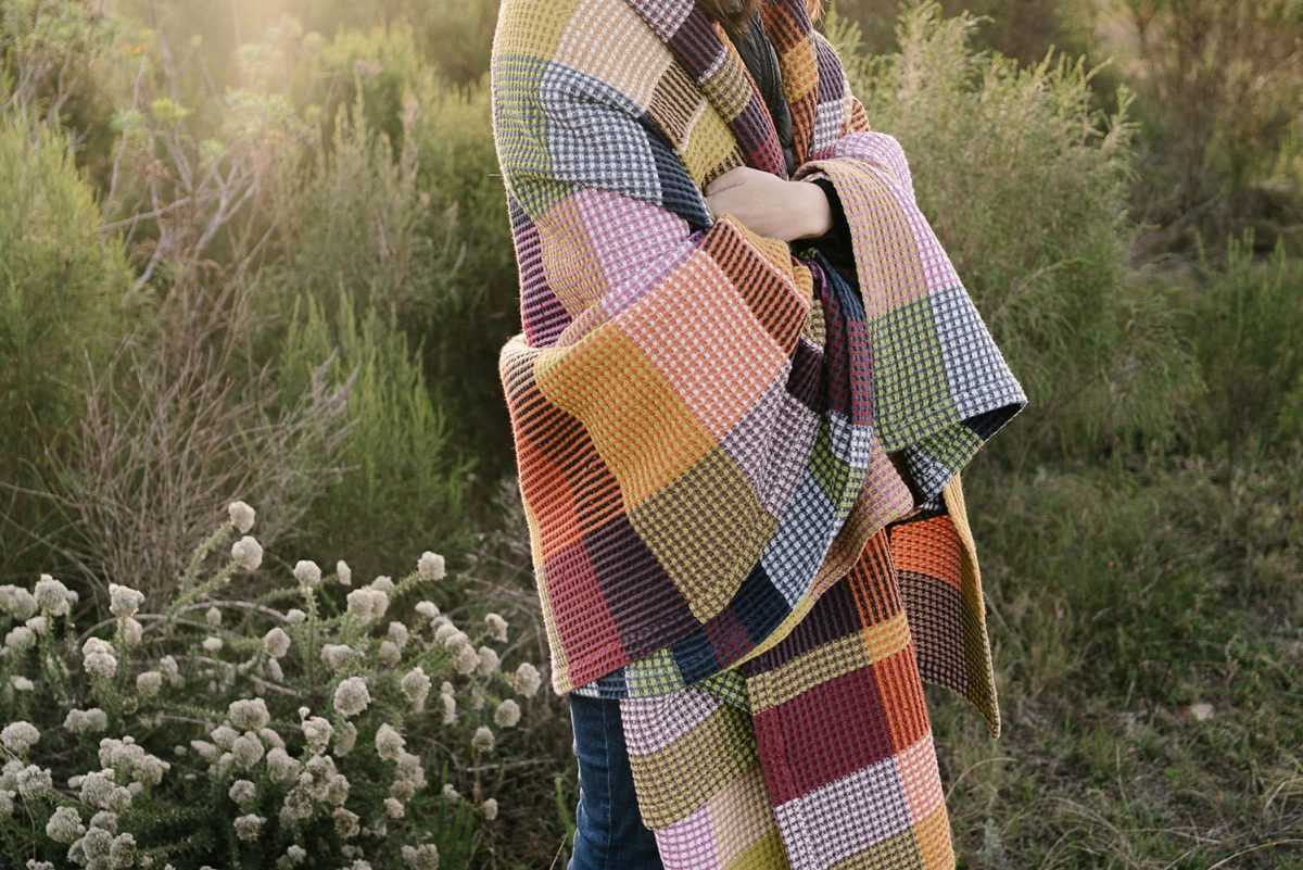 Keep warm this winter with the Mungo Vrou-vrou blanket, woven at our mill in Plettenberg Bay