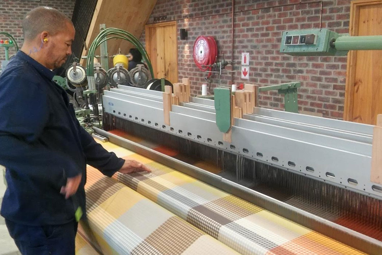 The Vrou-Vrou being woven on the wide width Dornier loom at the Mungo mill