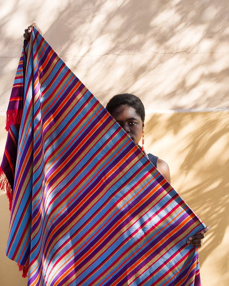 Striped South Kikoi woven at The Mungo Mill from 100% Cotton Kikoy South is a colourful and versatile beach wrap, sarong, head wrap or towel for tropical beach holidays