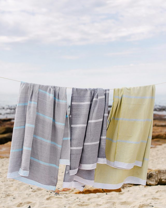 The Mungo Tawulo bath sheet and beach towel range with african inspired pattern, woven from 100% cotton at the Mungo Mill in Plettenberg Bay