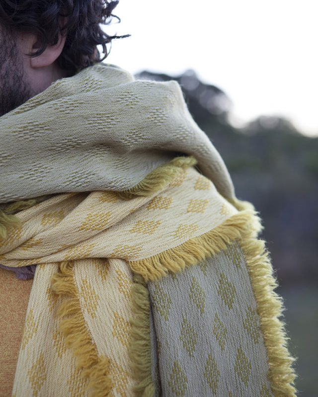 The naturally dyed Kenza scarf, woven by Stuart at the Mungo mill in Plettenberg bay