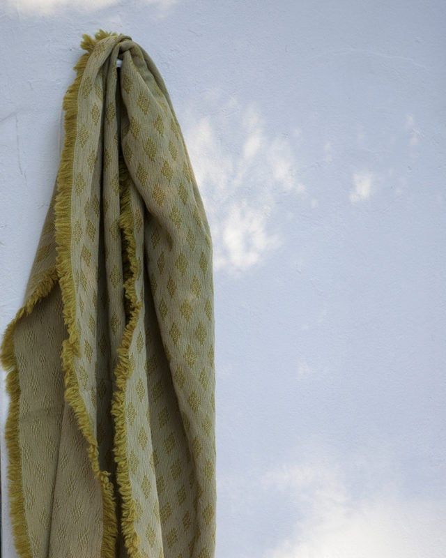 Naturally Dyed Kenza scarf in the Erica colourway is made from a blend of cotton, mohair and lambswool