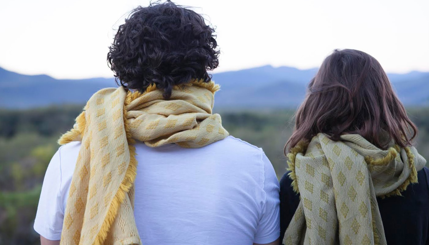 The Kenza scarf, woven from natural fibres and dyed using natural ingredients