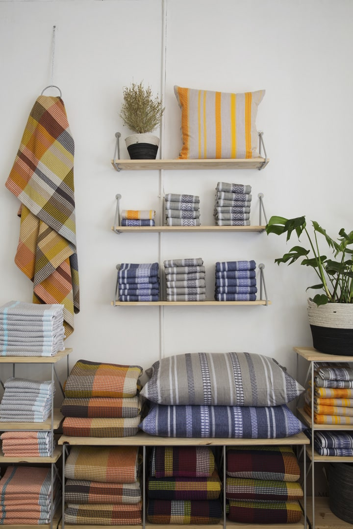 Vibrant Mungo textiles for the home on display at their store at 44 Stanley in Joburg. Featured here are the Mali cushion covers, the Vrou-Vrou blanket and a range of their flat weave towels