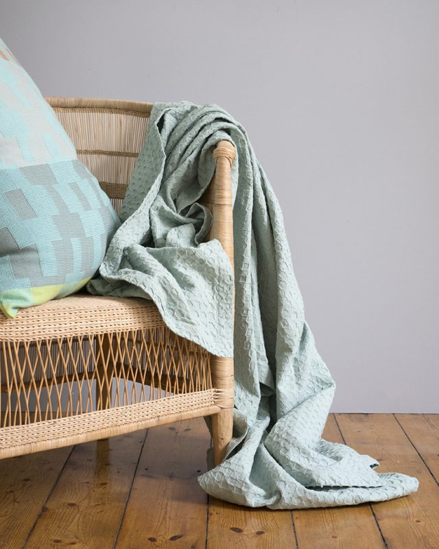 Mungo Lattice Weave Bed Cover woven at the Mungo mill, now in the Misty Teal colourway