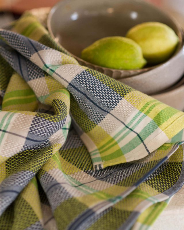 The Mungo Vadoek in the Dill colourway, woven at the Mungo mill in Plettenberg bay.