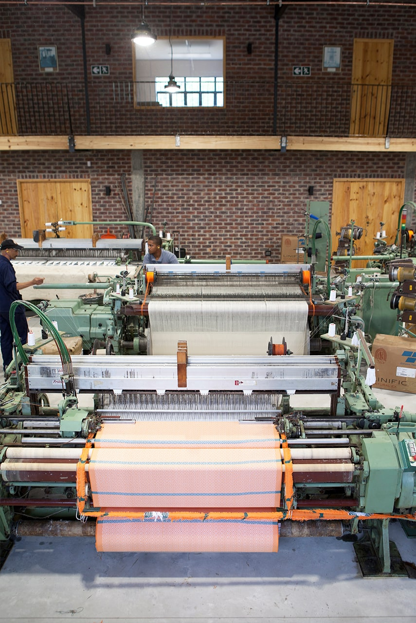 The Mungo African Sunset iTawuli towel on the loom at our mill in Plettenberg Bay, South Africa
