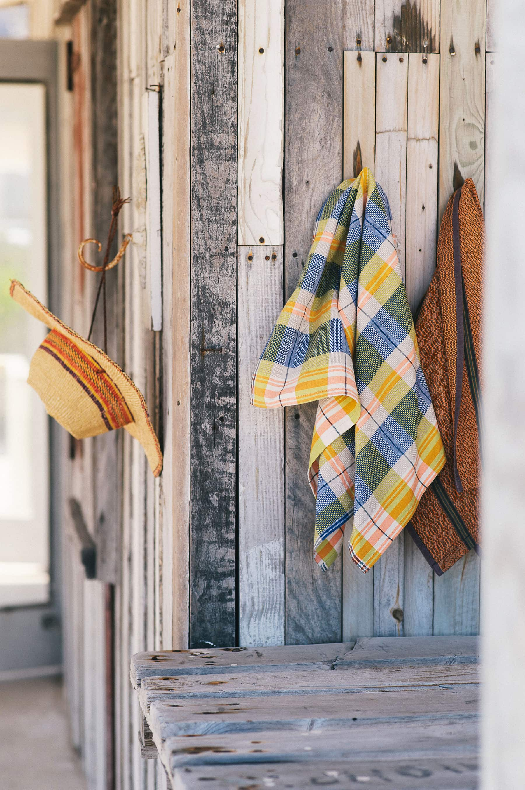 The Mungo Vadoek Kitchen Linen pictured in a rustic surf shack up the West Coast