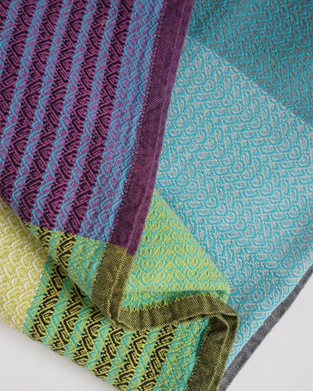 The Mungo Folly Towel is available in three amazing colourways, including the Blue Crab colour shown here.