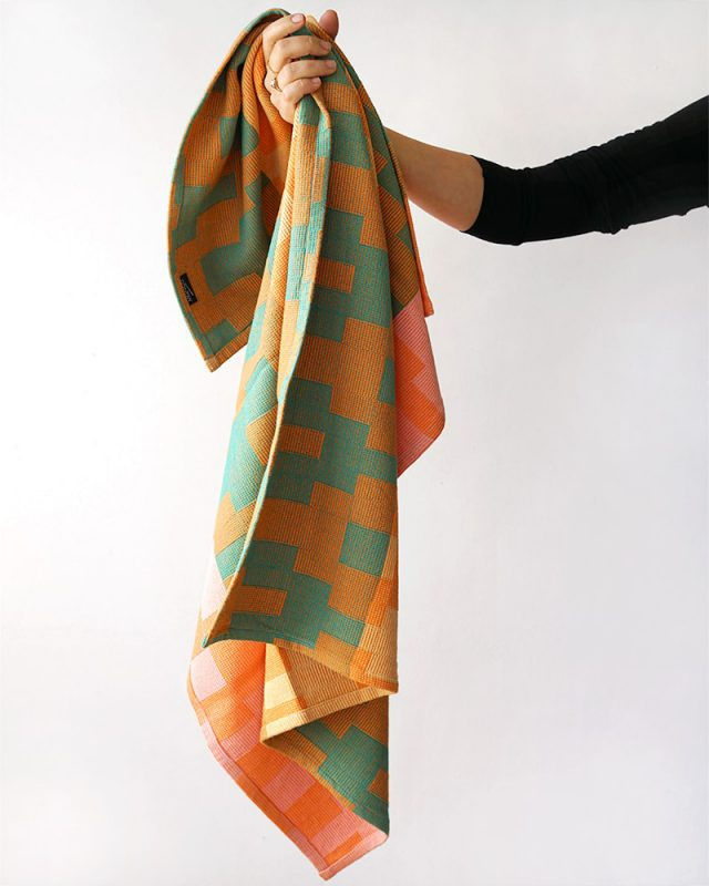 Mungo Moholo Dog Blanket in Mango. Pure cotton & hard wearing, woven at the Mungo Mill in South Africa