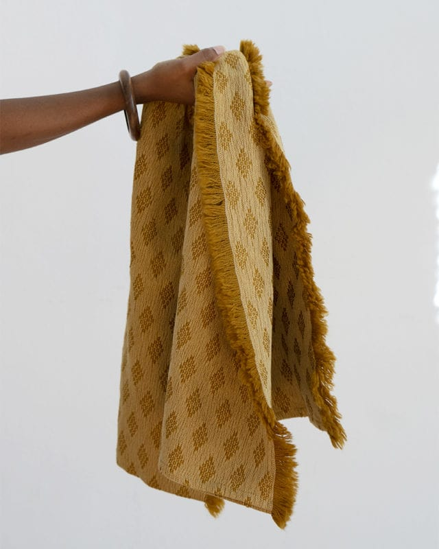 The Kenza scarf hand dyed by master weaver Stuart Holding