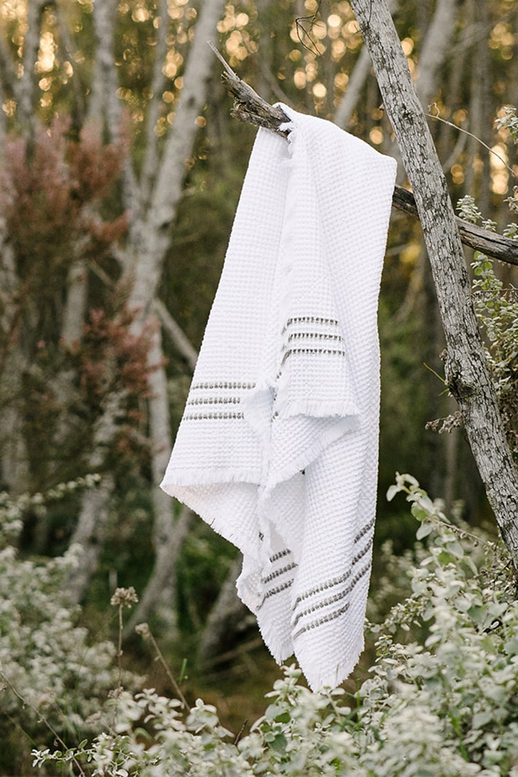 Mungo Belgian Waffle Weave. Our 'thickest' towel, available in white and charcoal or duck egg stripe. Soft and absorbent.