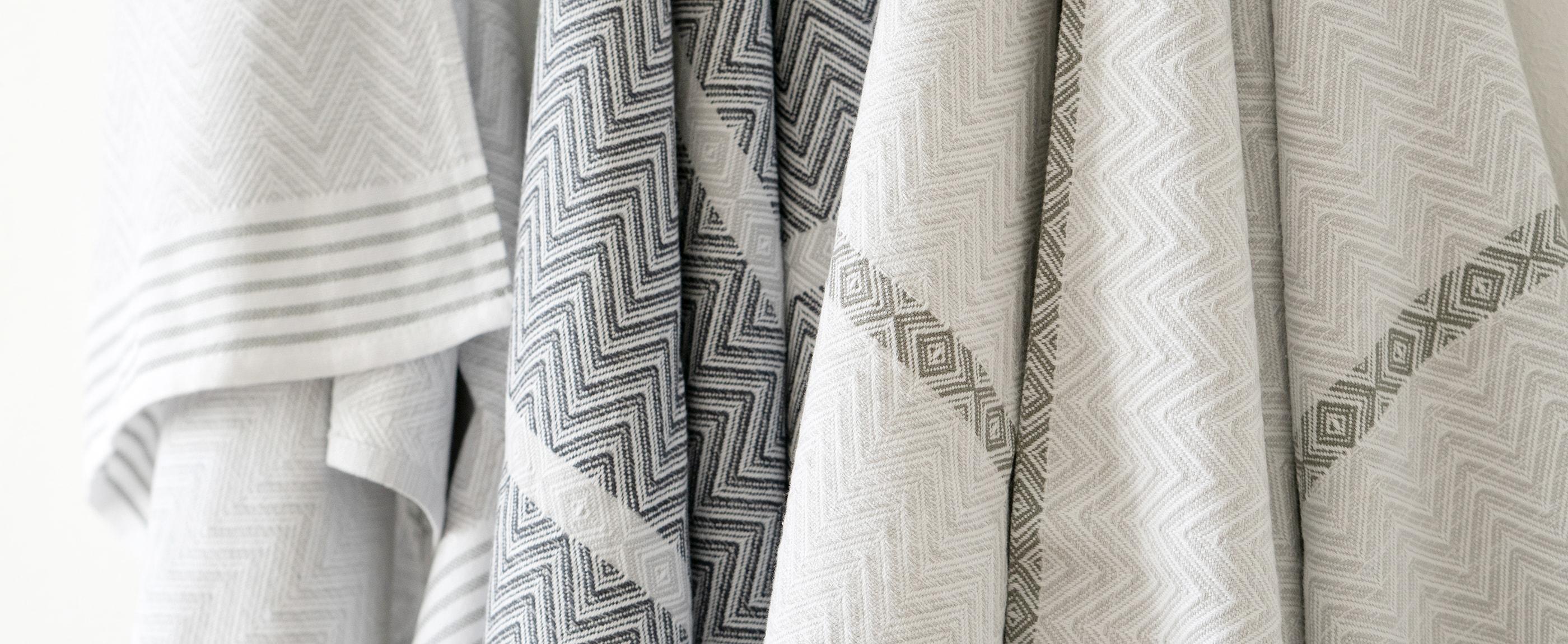 The Mungo Tawulo towel featuring a unique random weft stripe.