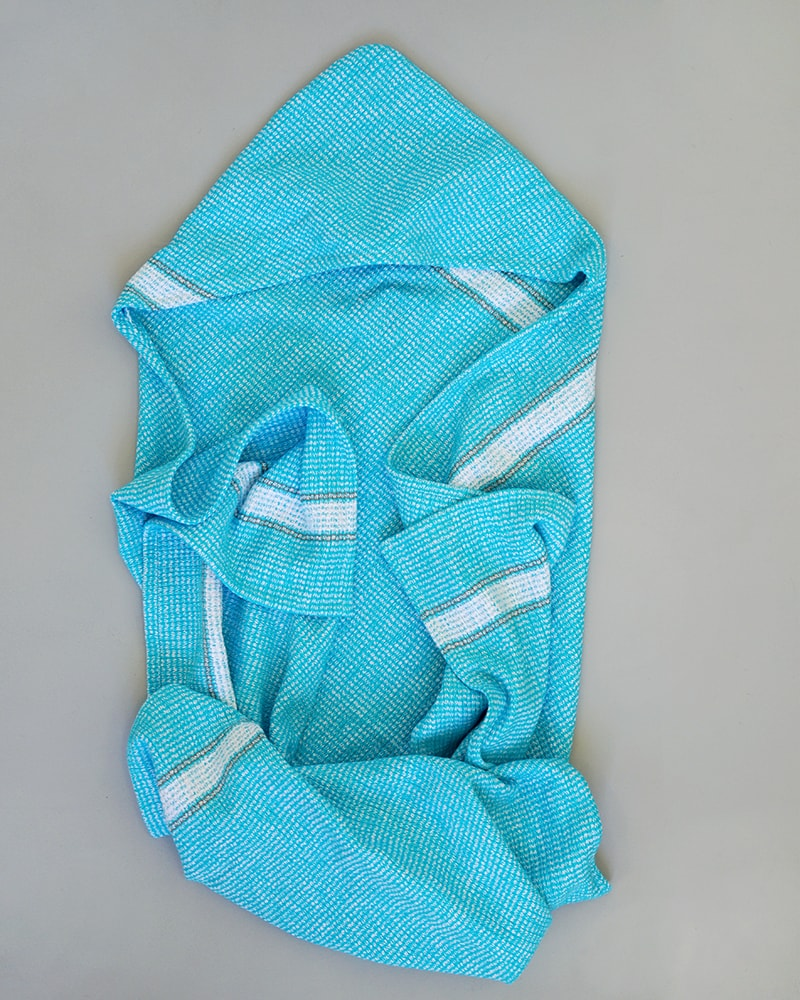 Mungo Hooded Summer Towel in the turquise colourway
