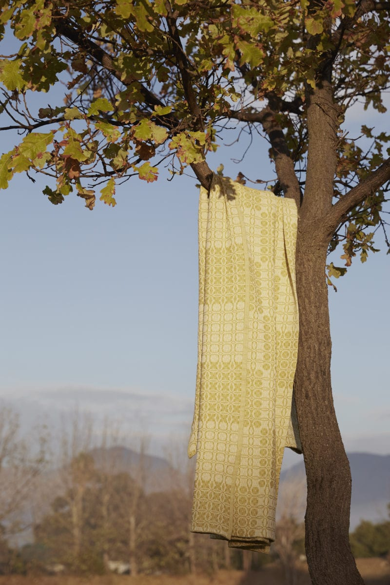 Mungo Juno Throw in mustard. Design, made, woven at the Mungo Mill in South Africa