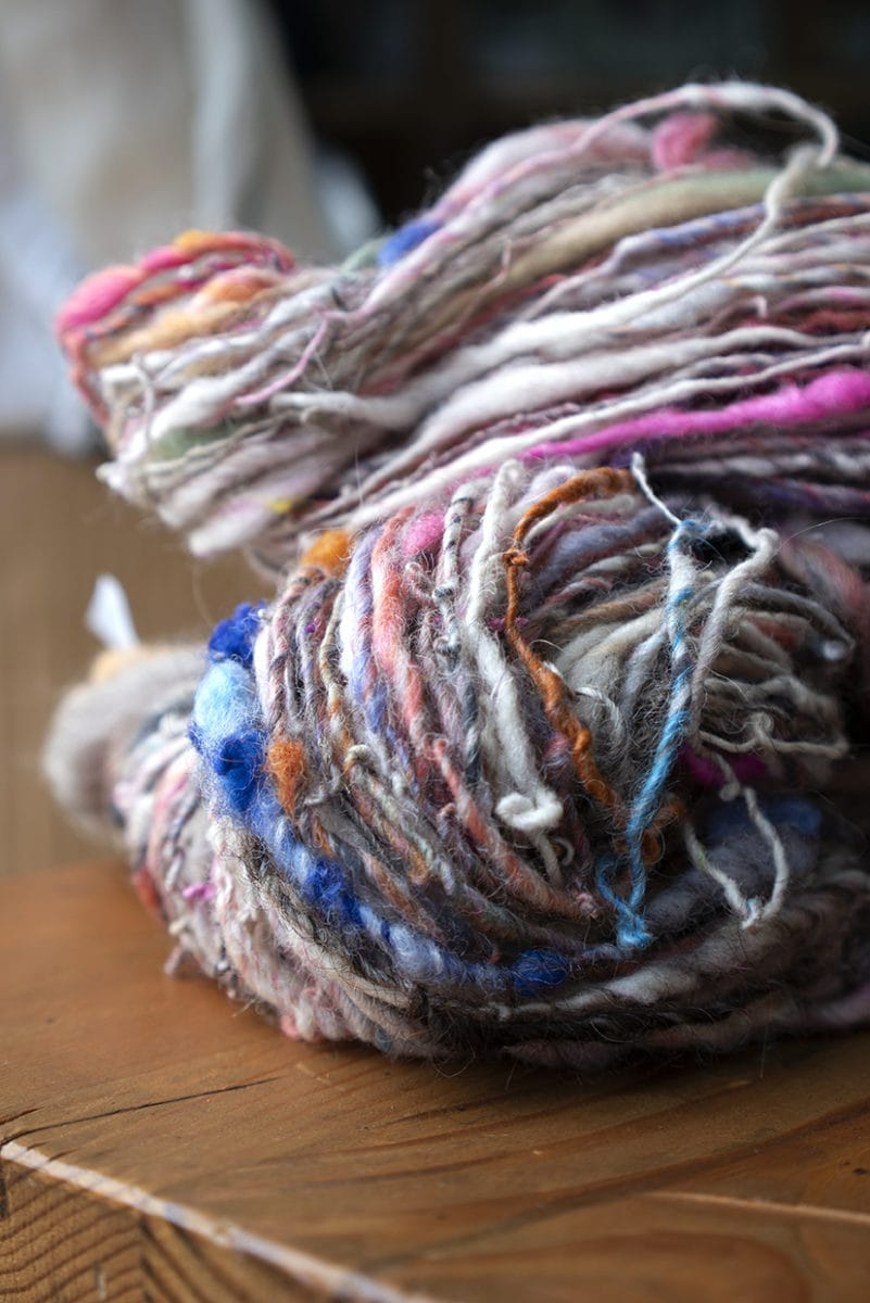 Colourful yarn spun by Mungo, Charleston's shop manager, Rachel Neil