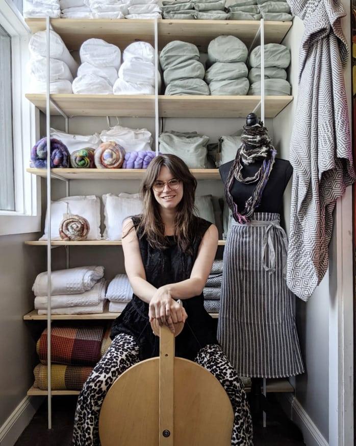 Rachel Neil, Mungo Charleston shop manager with her spinning wheel