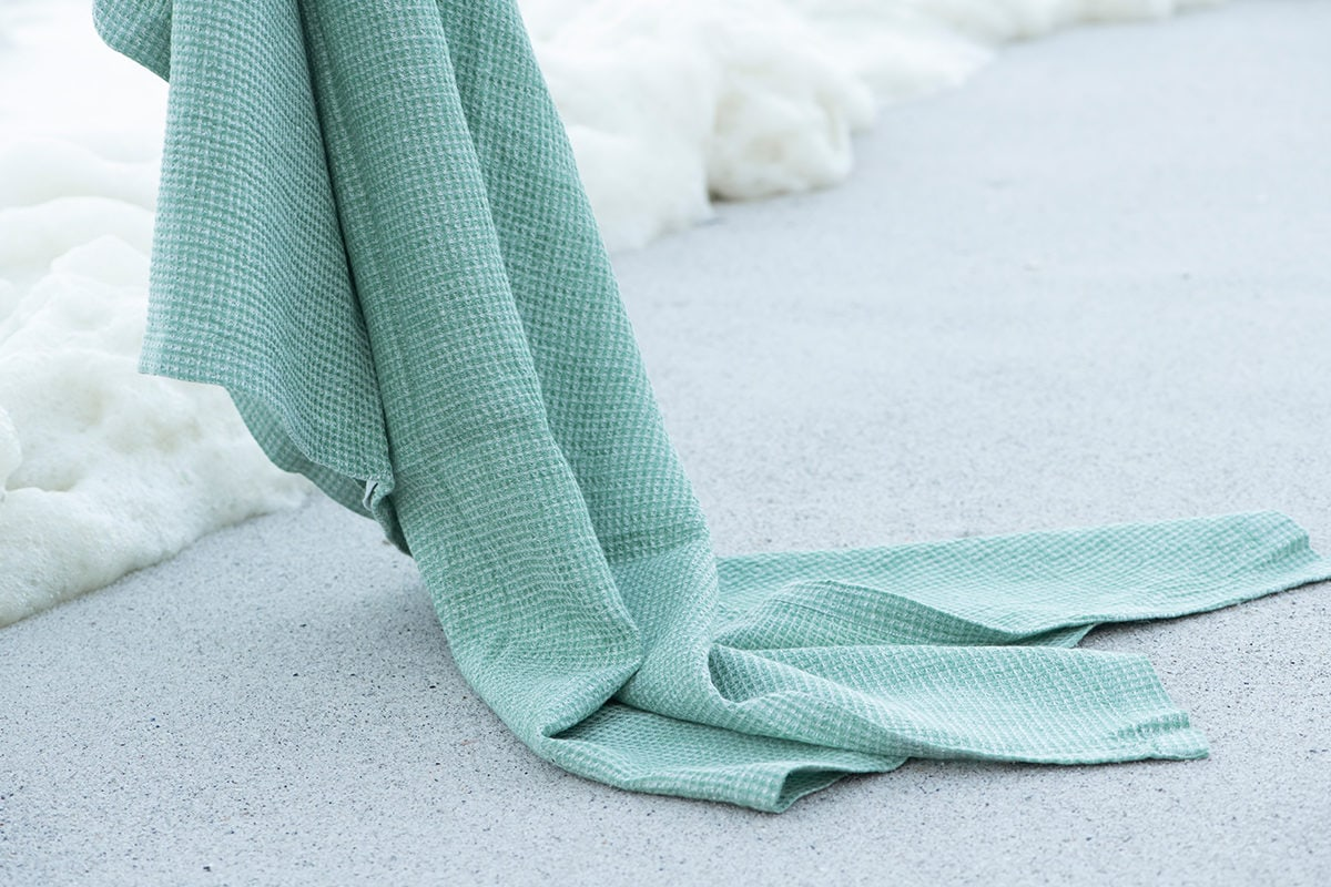Mungo Sea Foam Dhow Towel - a 100% linen towel designed, made and woven at the Mungo Mill in Plettenberg Bay